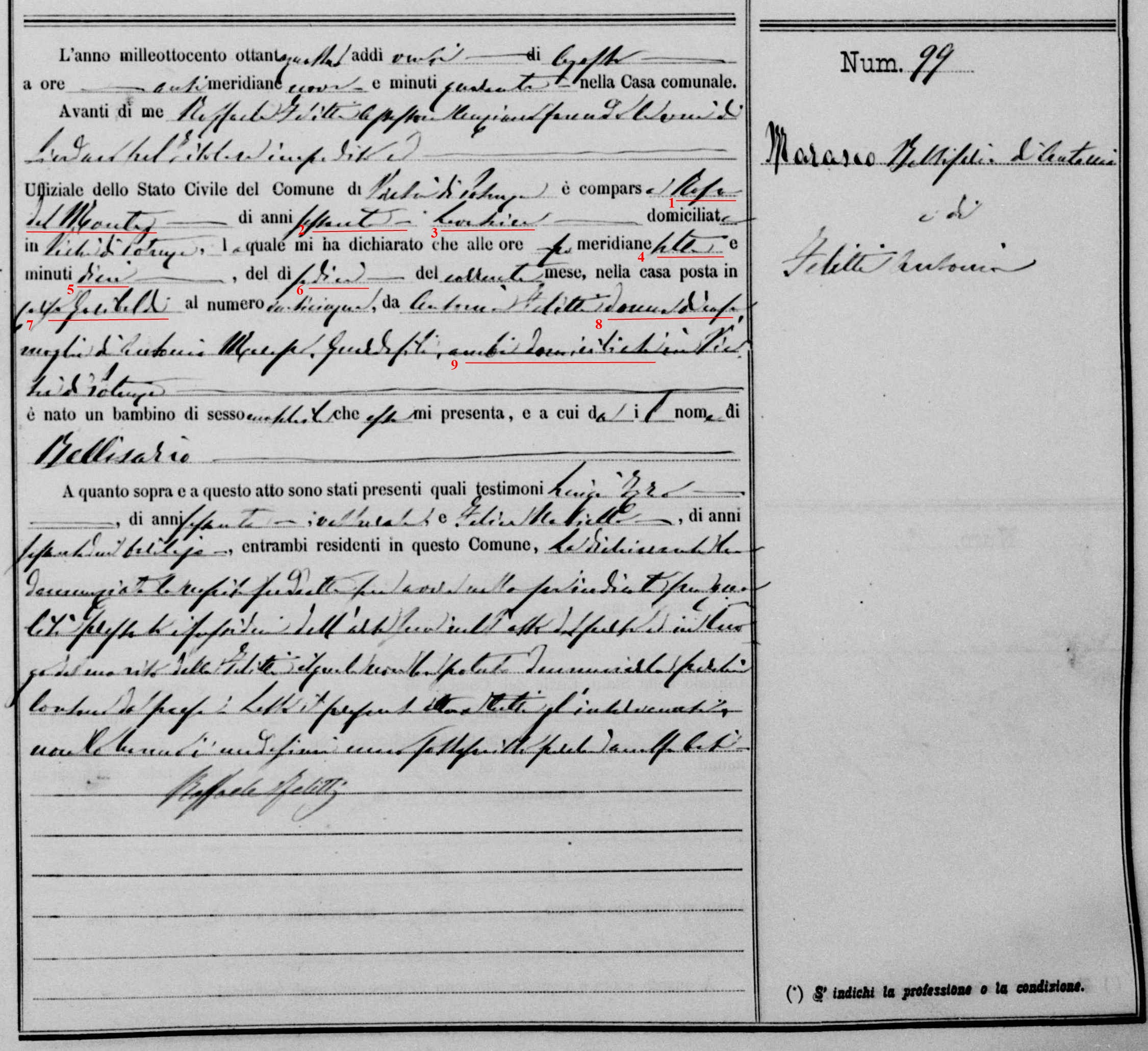 Bellisario Marasco birth record familysearch marked.jpg