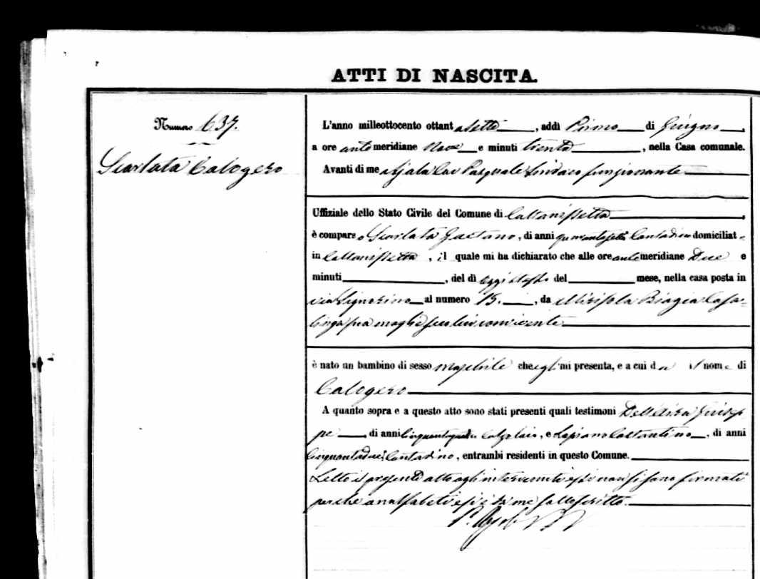 Calogero Scarlata - 1887 Italy Birth record.jpg