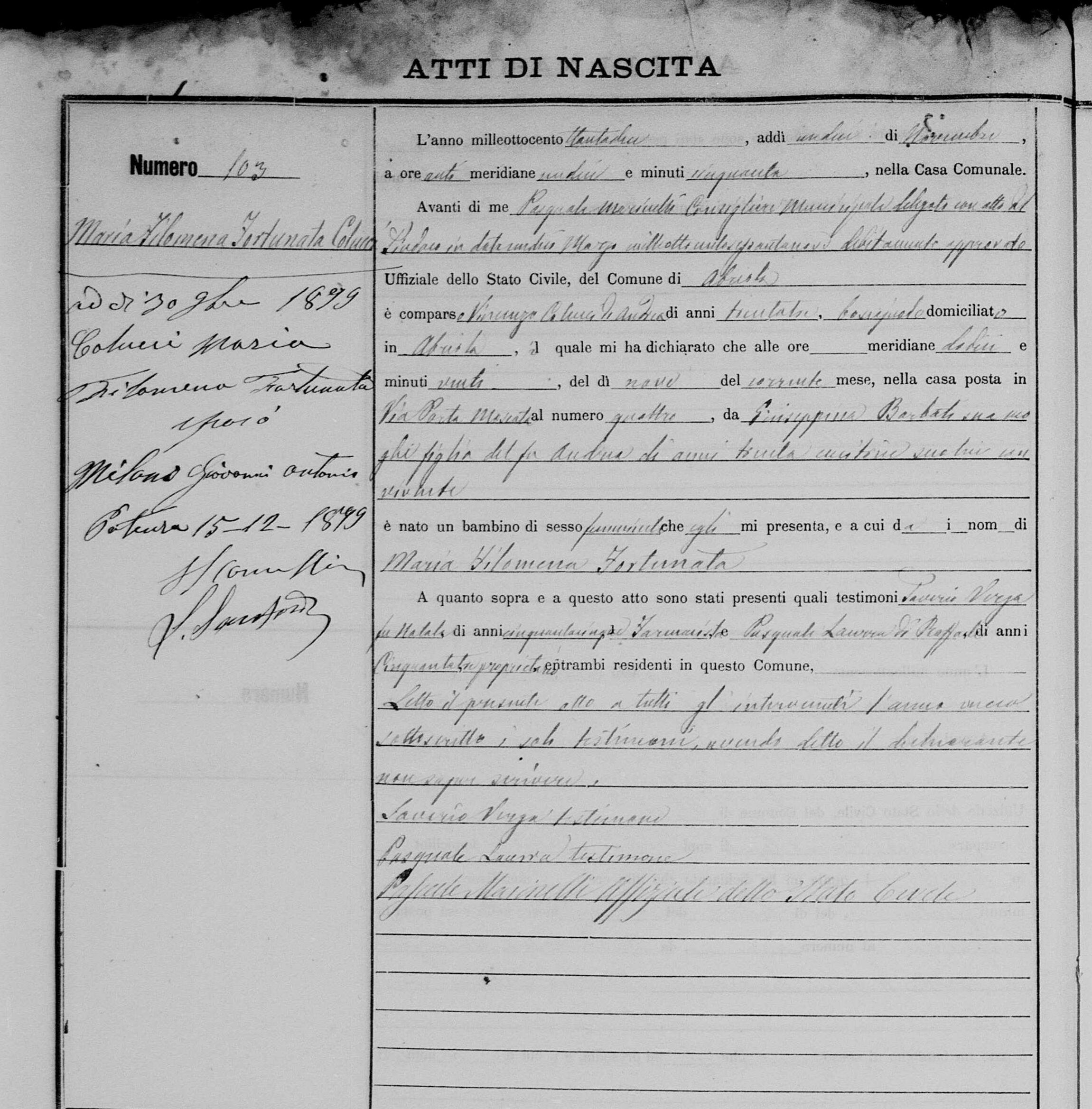 Milano  Filemena Nov 12 1882 birth record.jpg