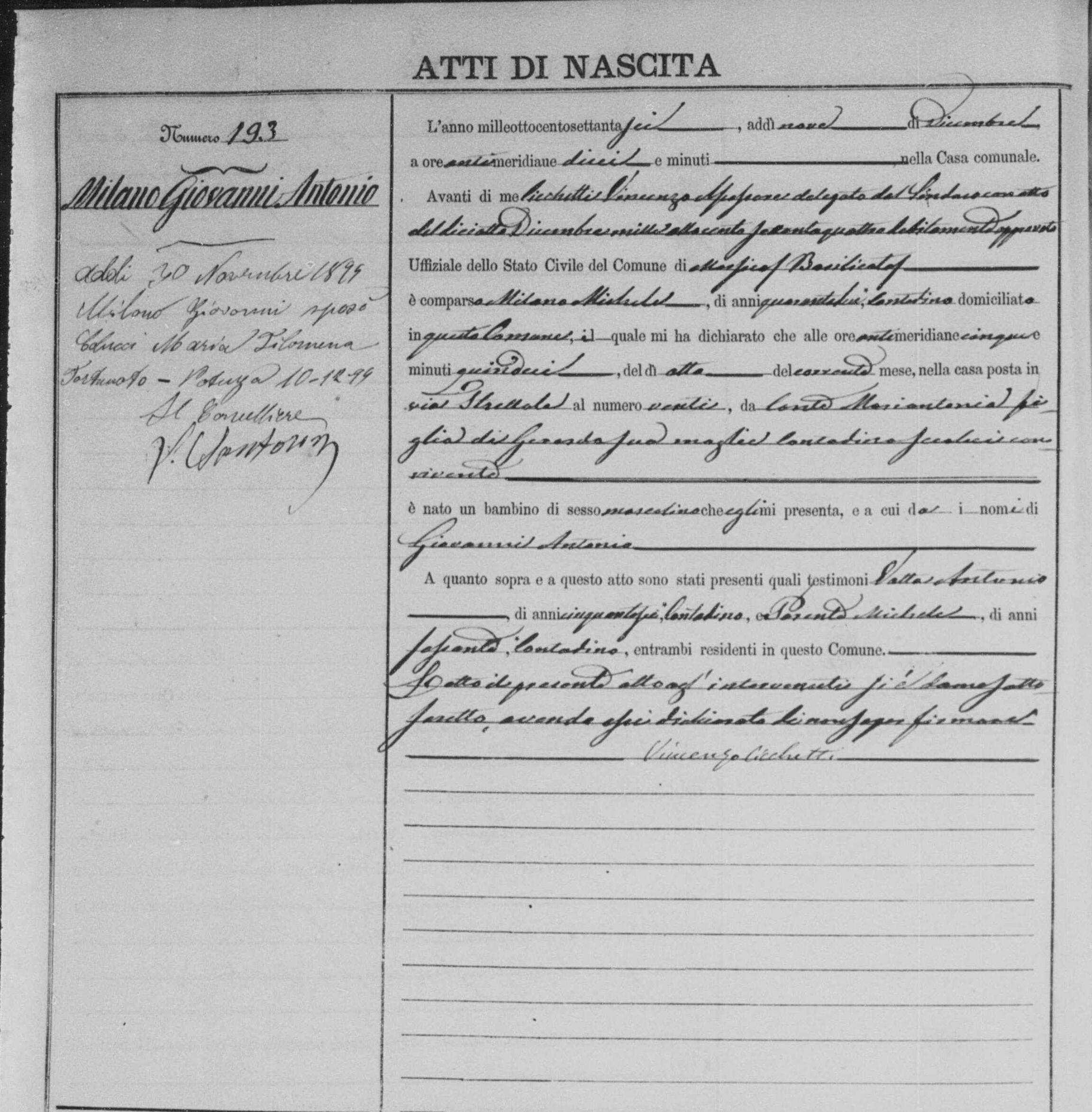 Milano Giovanni Antonio Dec 8 1879 birth record.jpg