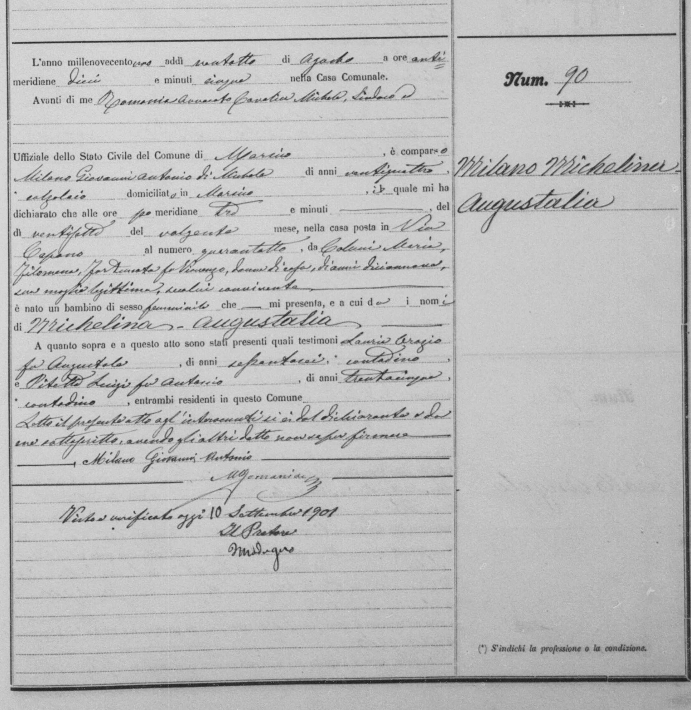 Miilano Michelena birth record Aug 27 1901.jpg