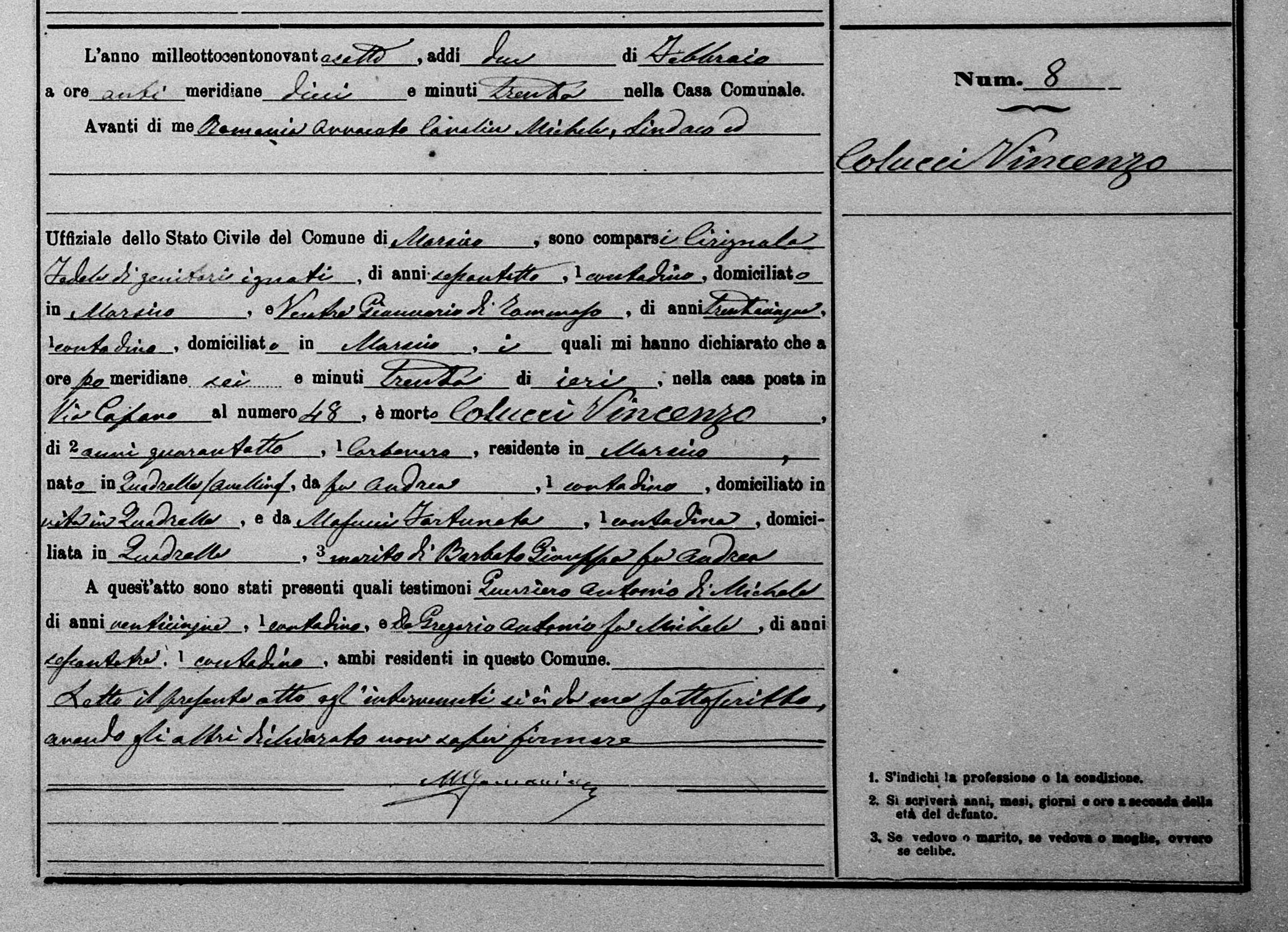 Milano Vincenzo Milano 1897 Death self.jpg