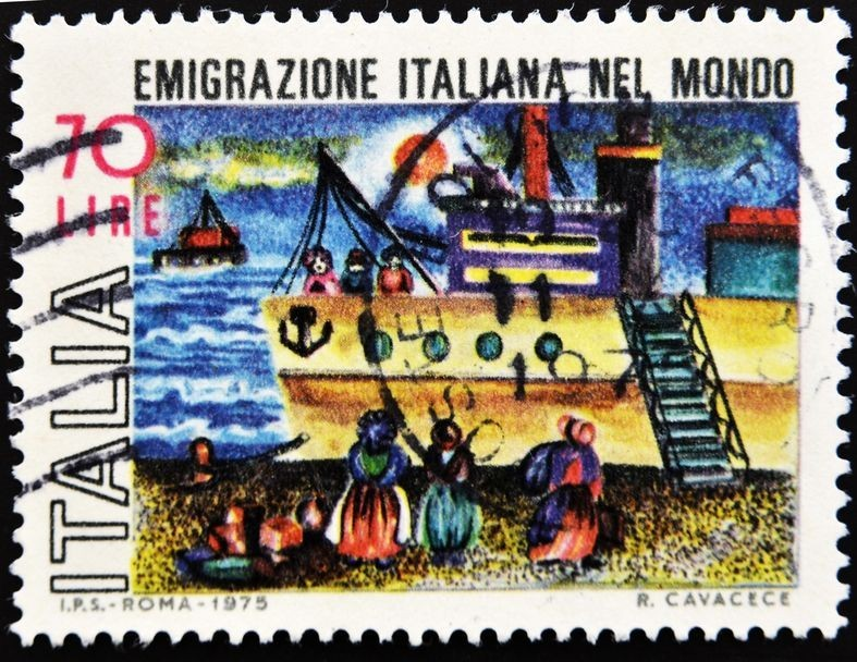 Italian stamp which refers to the Italian emigration in the world, circa 1975