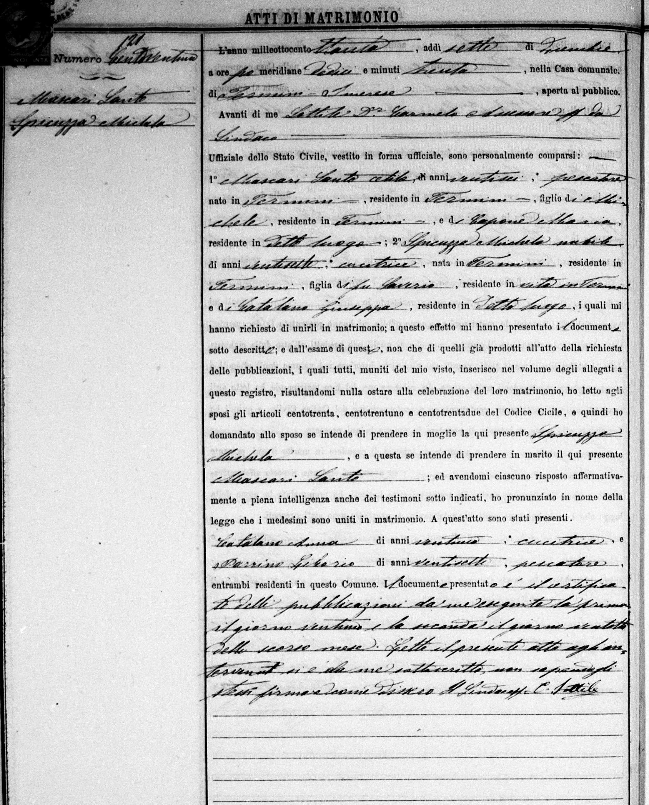 Mascari Santo & Michela Spicuzza 1880 7 Dec Marriage .jpg