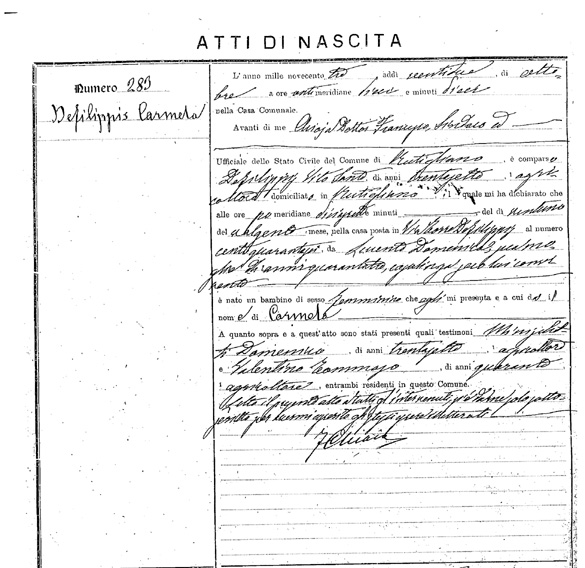 Carmela DeFilippes (Birth Record).jpg