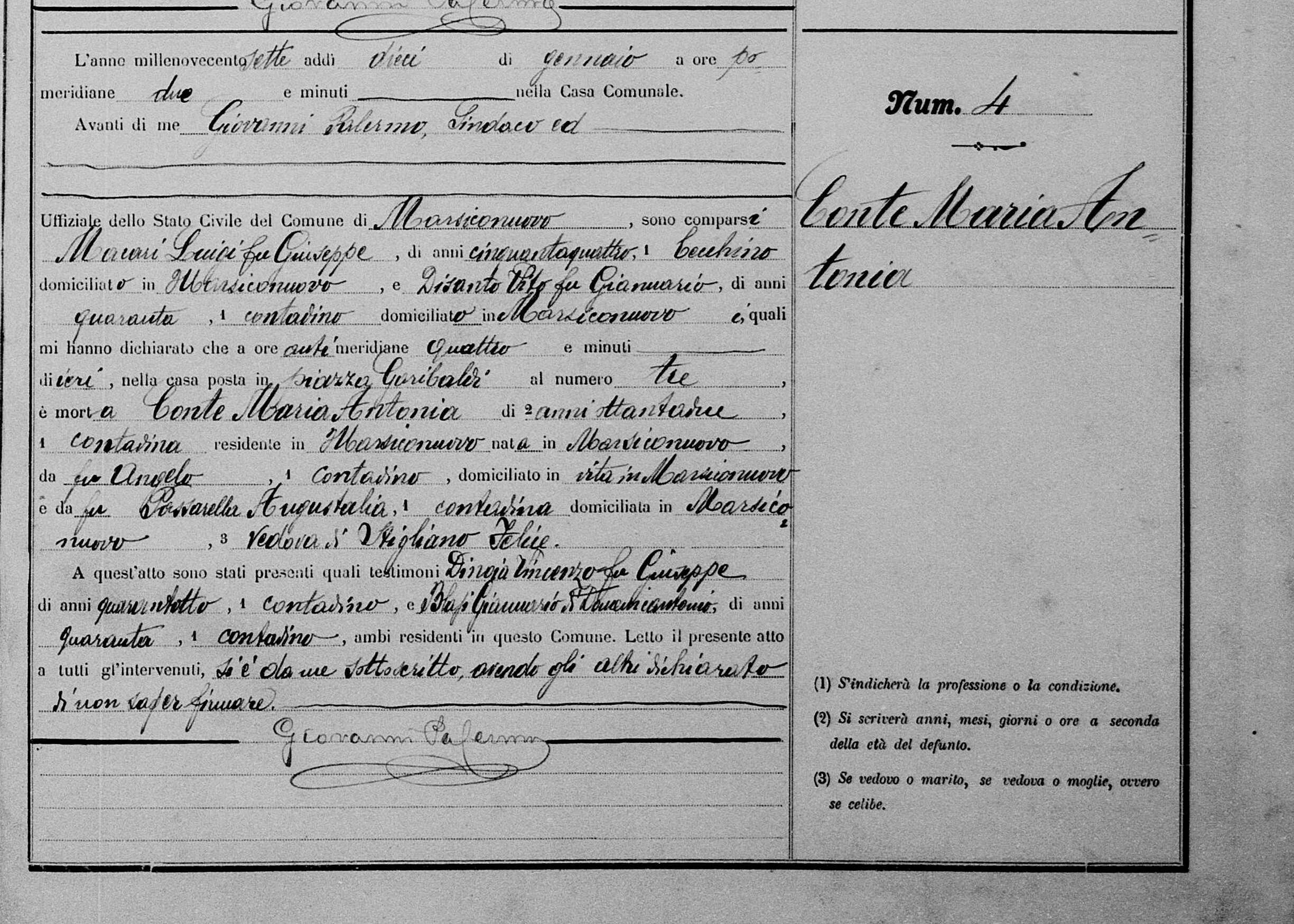 Maria Antonia  Conte Death record 1907 self.jpg