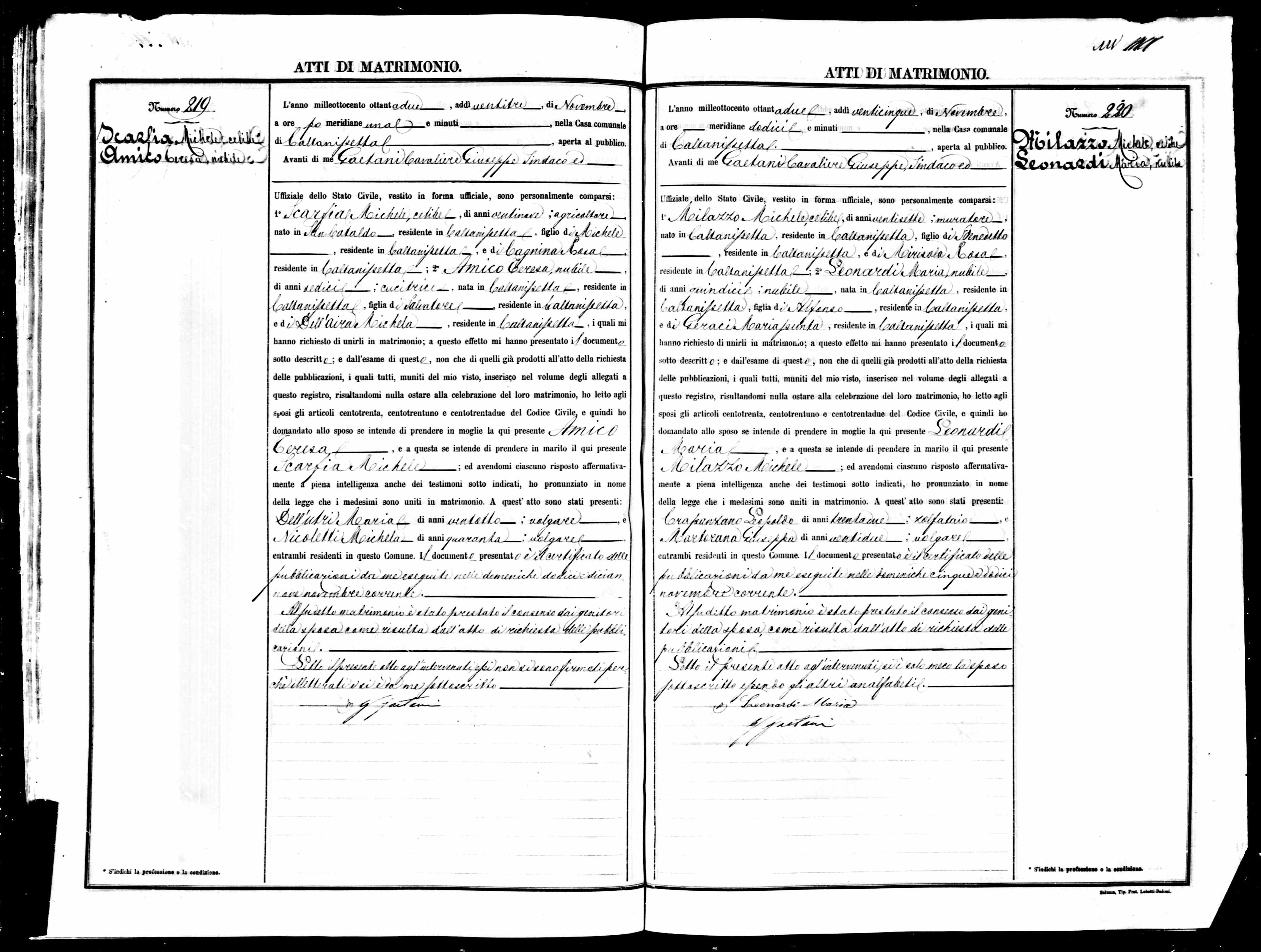 Marriage document for Michael Scarfia & Theresa Amico 1882 Caltanissetta.jpg